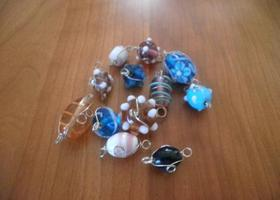 A Great Assortment of Wire Wrapped Lampwork Beads 30pcs