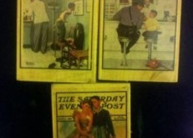 Stamp set of 3 Norman Rockwell Saturday Evening Post Stamps