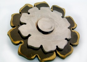 Gold Flower Belt Buckle by WATTO Distinctive Metal Wear