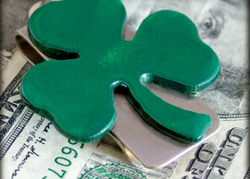 Green Shamrock Money Clip by WATTO