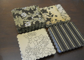 100 Elegant Scalloped Tags-25 each of 4 designs. One design is Flocked