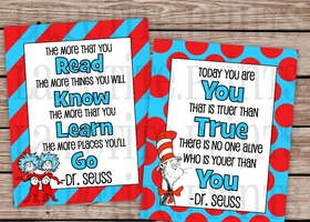 Set of 2 Adorable Unframed Dr. Seuss Prints