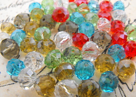 110 Faceted Rondelle Glass Beads