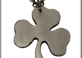 Shamrock Charm on Gunmetal Chain by WATTO