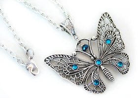Flying Butterfly with Swarovski Crystals Necklace