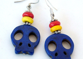 Blue SKull Dangle Earrings