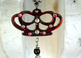 Jeweled Red Metal Crown Necklace by WATTO