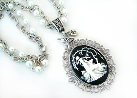 Forest Nymph & Fawn Cameo Necklace