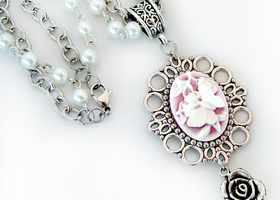 Butterfly and Flower Cameo Necklace