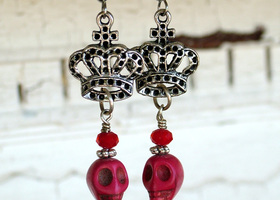 Crowned Red Skull Earrings