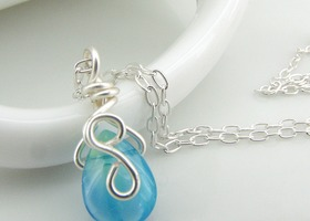 Aqua Glass Teardrop Sterling Silver Necklace
