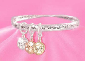 Inspirational 'Lord's Prayer' Mobius Charm Stretch Bracelet
