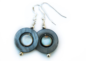 Misty Mountain - Charcoal Gray and Cream Shell Earrings