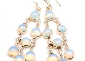 Sterling Silver Opalite Chandelier Earrings