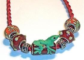 Eleven Euro-style large hole beads, Murano, Lampwork, Tibetan Silver, Red, Green, plus cord
