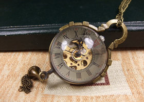 Steampunk Gear Mechanical Pocket Watch Pendant/Necklace