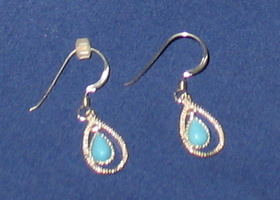 925 Sterling & Turquoise Pierced Earrings