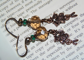 Amber Bird house Earring in copper