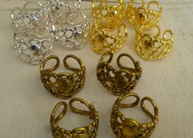 Adjustable Filigree Rings Set of 12 w BONUSES