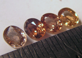 Yellow to Reddish Cinnamon All Natural Cambodian Zircon unheated 4 pcs faceted