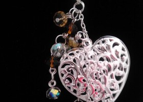 FILIGREE HEART necklace with heart toggle clasp