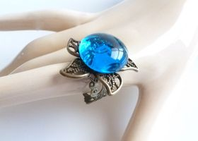 Filigree Starfish Ring in Sea Blue..Adjustable