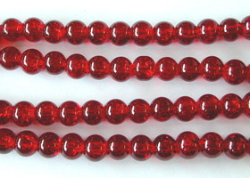 90 Bright Red Glass Crackle Beads 10mm