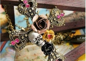Vintage bronze cross skull rose necklace