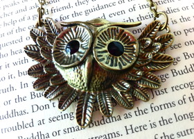 Antiqued Brass Black Rhinestone Eyes Owl