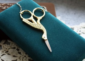 Cutting Crane Scissor Necklace
