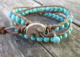 Good Luck Elephant & Turquoise Leather Wrap Bracelet