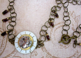 Vintage Watchface, Gear & Movement Necklace