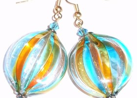 Handblown Gold/Blue/Tan Glass Bead Earrings