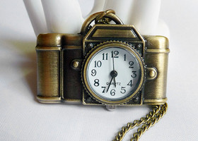 Bronze Camera Watch Necklace for the Shutterbug in Your