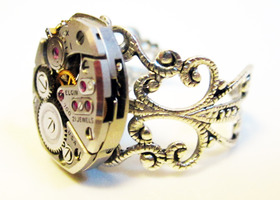 Steampunk watch movement ring, Elgin