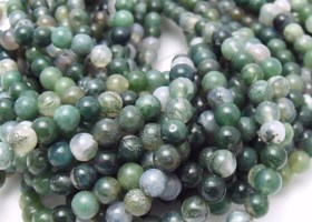 three 16inch strands of 6mm moss agate beads