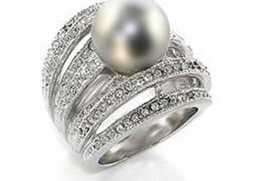 Smoky Quartz Pearl w/ Clear CZ's Rhodium Plated Silver Ring Size 10 Only