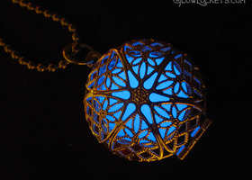 Blue Frost Mystic Glow Locket Silver Plated Filigree