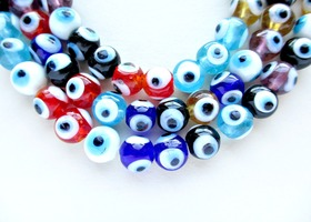 1 Full Strand of Evil Eye Lamp Work Glass Beads