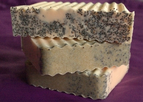 Two 5-6oz bars of Sweet Orange Poppyseed All Natural Soap and Salt!
