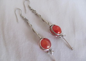 Elegant Orange Stone Wrapped Earrings
