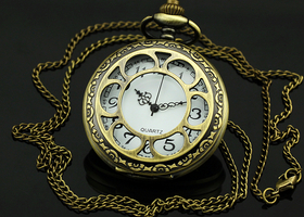 Vintage bronze skeleton carved quartz pocket watch