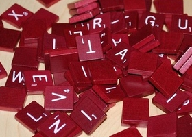 Lot of 50 Burgundy Scrabble Tiles