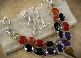 Multi Gemstone necklace: Rainbow of stones