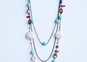 Stunning Triple Strand Stone/Gem Necklace