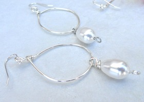 Pearly White Loopy Hoops Earrings