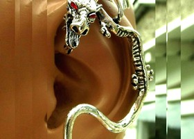 Dragon In Flight Earring. Ear Hug, Stud