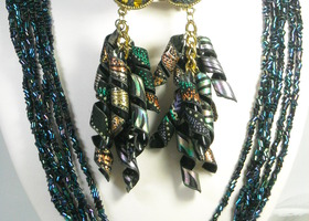 iridescent Beaded 6 Strand Necklace Free Earrings!