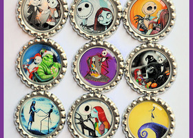 New Lot 15 Nightmare before Christmas Finished Flattened Sealed Bottle Caps