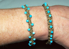 Blue Beaded Hemp Bracelet Set